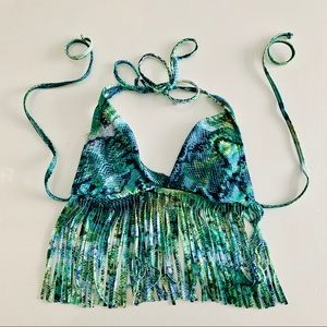 LSpace fringe teal size small bikini top